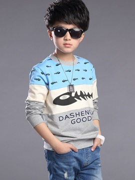 Simple Color Block Printing Boy's T-Shirt