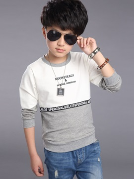 Casual Color Block Letter Printed Cowl-Neck Boys T-Shirt