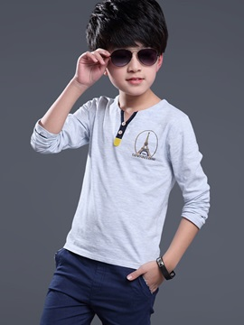 Casual Button Patch Collar Printing Boys T-Shirt