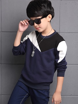 Color Block Patchwork Thickening Boys T-Shirt