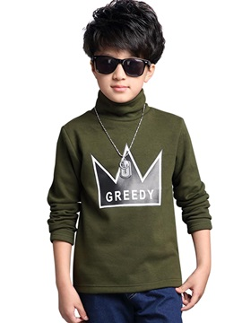 Letter Print Turtleneck Woolen Thick Boy's Winter T-Shirt