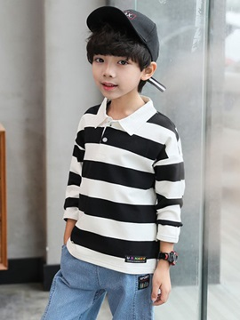 Wide Striped Long Sleeve Loose Boy's Polo T-Shirt