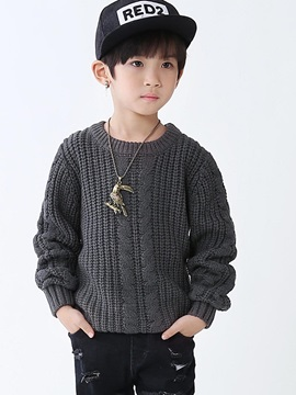 Plain Knitting Hedging Thick Sweater