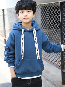 Letter Print Pullover Thicken Boy's Hoodies