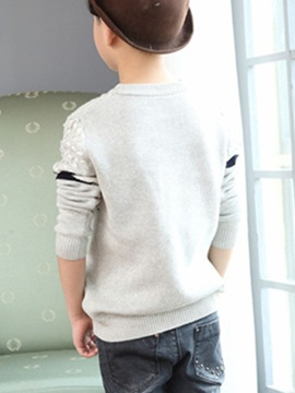 Round Neck Long Sleeve Striped Boys' Sweater