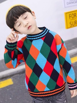 Plaid Color Block Boys Mock Neck Sweater