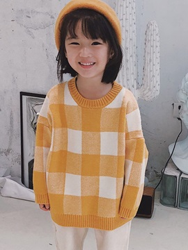Plaid Pullover Print Round Neck Boy's Sweater