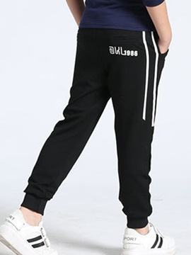Number Print Mid-Waist Boy's Casual Pants