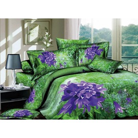 Smashing Wonderful Purple Flowers and Green Grass 4 Piece Cotton Bedding Sets with Printing