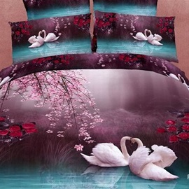 3D Painting-Dancing Swan Cotton 4-Piece Queen Size Duvet Covers
