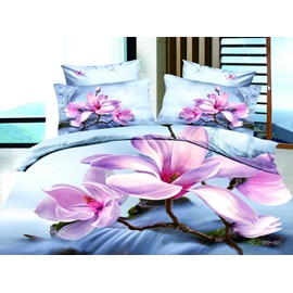 Brilliant 4 Pieces Cotton Bedding Sets with Colorful Flowers