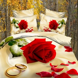 Stunning 4 Piece Rose Print 100% Cotton Bedding Sets