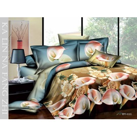 Pastoral Style Pink Florals Printed 4 Piece Cotton Bedding Sets