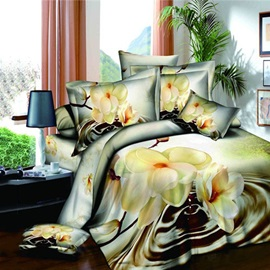 Brilliant Big Flowers Printed 4-Piece 100% Cotton 3D Bedding Sets