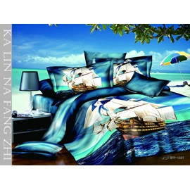 Blue 4 Piece Cotton Bedding Sets with Sailing Boats Patterns