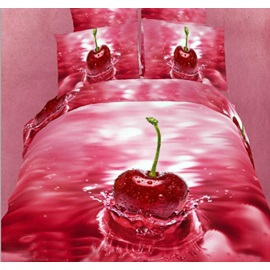 Fresh Red Cherry in water Realistic 3D Print 4 Piece Bedding Sets