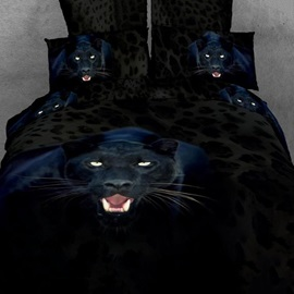 Brilliant Ferocious Black Leopard Pattern 4-Piece 3D Bedding Sets