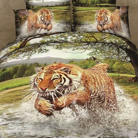 Fierce Tiger Print 4-Piece 100% Cotton Bedding Sets