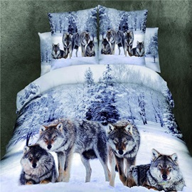 Snowfield Wolf Print Pure Cotton 4-Piece Bedding Sets