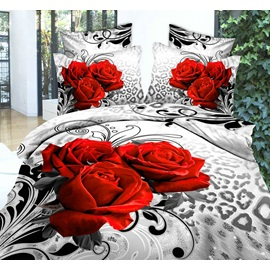 Unique Leopard Rose Printed 4-Piece Cotton Bedding Sets