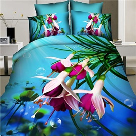 Nice Flower Printed Cotton 4-Piece 3D Bedding Set