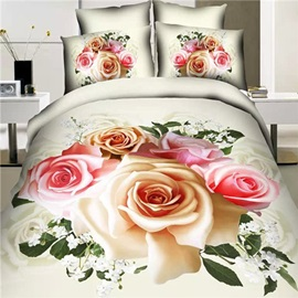 Blooming Roses Printed Cotton 3D 4-Piece Bedding Set