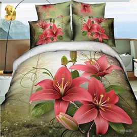 Nice Red Lily Printed Cotton 3D 4-Piece Duvet Cover Set