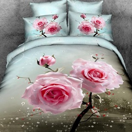 Pink Flowers Printed Cotton 3D 4-Piece Duvet Cover Set
