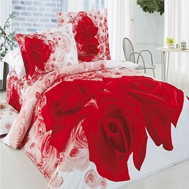 Tidebuy Romantic Big Red Roses Printed Cotton 3D 4-Piece Duvet Cover Set/Wedding Bedding
