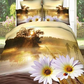 Tidebuy Sunset Scenery Printed Cotton 3D 4-Piece Duvet Cover Set