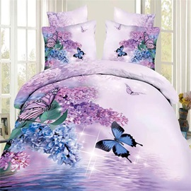 Tidebuy Purple Flowers with Butterflies Printed Cotton 3D 4-Piece Duvet Cover Set