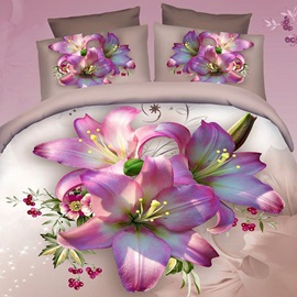 Luxury Pink Printing 4-Piece Cotton Duvet Cover Sets