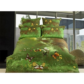 Unique Flying Butterfly Grass Active Printing 4 Piece Bedding Sets with Cotton