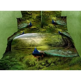 Grass and Visual Peacock Active Printing 4 Piece Bedding Sets