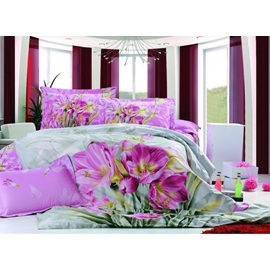 4 Piece Superior Quality Cotton Bedding Sets with Lilac Floral Print