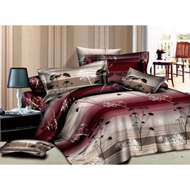 Wine Red Tree Pattern Printed 4 Piece Bedding Sets