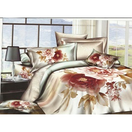 Sumptuous Flowers of Printed 4 Piece Bedding Sets with Cotton
