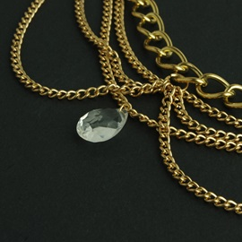 Multi-layer Women Hair Hand with Water Shape Pendant