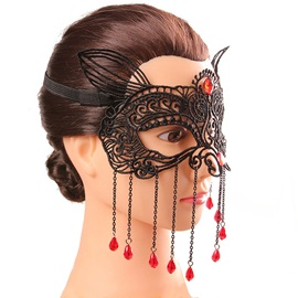 Fox Design Red Water Drop Rhinestone Alloy Tassel Lace Hollow Out Costume Ball Halloween Blinder Masks