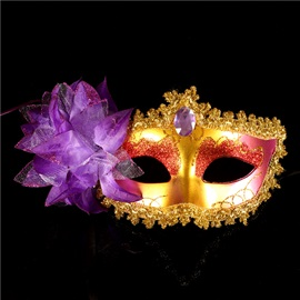 Fire Shape Red Flower Sequins Rhinestone Mysterious Sexy Halloween Masks