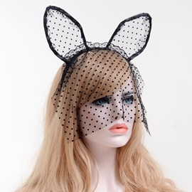 Cat Ear Lace Dots Mesh Halloween Hair Accessories