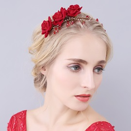 Rose Flower Imitation Diamond Halloween Bride Hairband