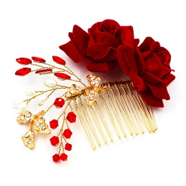 Red Flower Pearls Halloween Hair Clip Hair Accessories