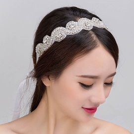 Zircon Inlaid Korean Style Wedding Hairband