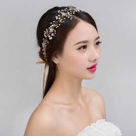 Branch Shape Two-Zone Rhinestone Inlaid Wedding Hairband