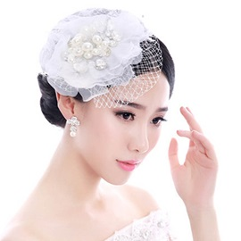 Pearl Inlaid Lace Grenadine Bride Wedding Head Flower