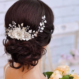 Pearl Inlaid Leaf-Shaped Manual Wedding Headband