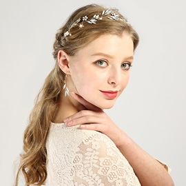 Colored Flower & Leaf Design Glass Material Wedding Hairband