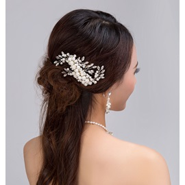 Hot Sale Pearl Inlaid with Imitation Diamond Wedding Hair Comb