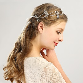 Silver-Zone Leaf Shape Rhinestone Inlaid Wedding Hair Band